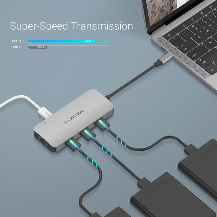 Lention.com: USB C Hub with 4K HDMI, Gigabit Ethernet, Card Reader, USB 3.0, Type C Data and Charging Adapter