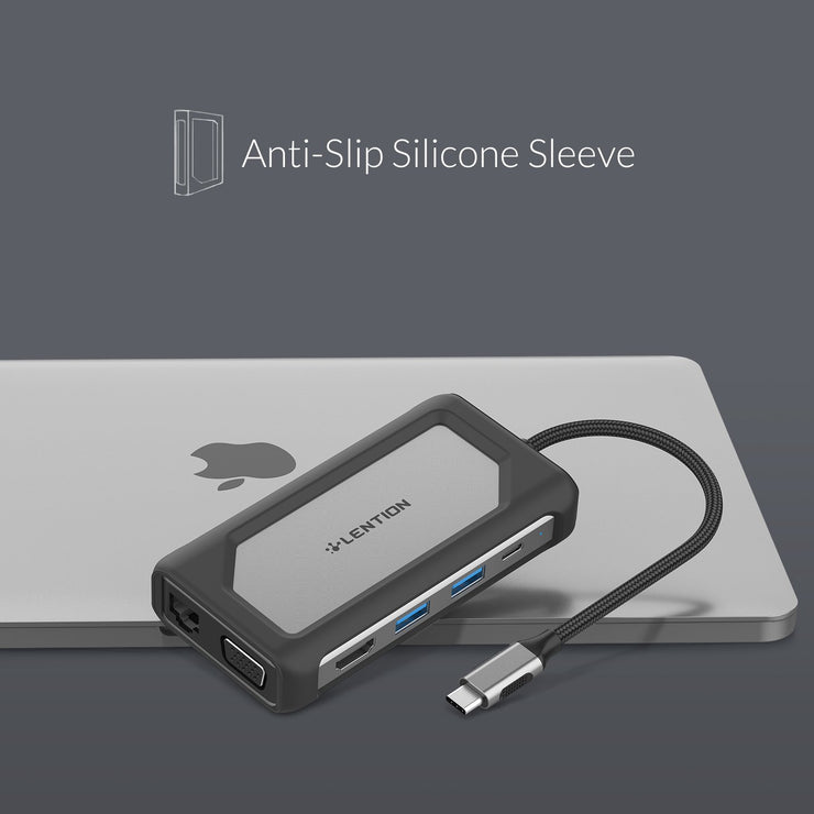 LENTION 7 in 1 USB C Hub with Gigabit Ethernet, Silicone Sleeve and More (CB-C75) (US/CA Warehouse In Stock)