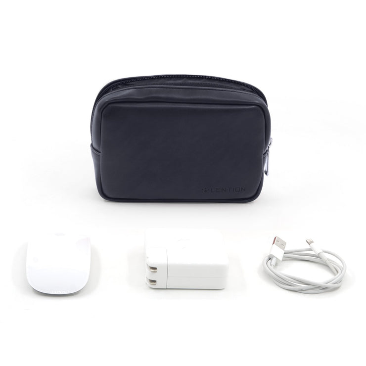 Lention.com: Universal Electronics Accessories Split Leather Carrying Storage Pouch, Small Portable Storage Bag,Compatible with Most wireless mouse, phone chargers, cables ,power banks and adapters: Computers &  Accessories