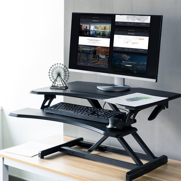 Lention GSD33 Adjustable Desk Riser Black - Office