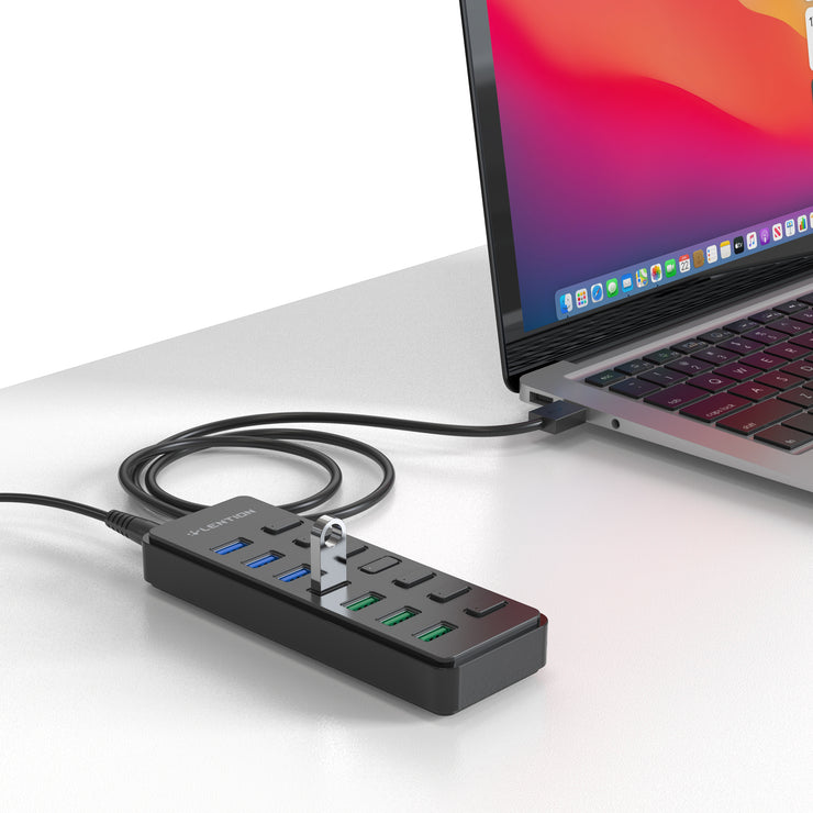 Lention.com: Lention Powered 7 USB 3.0 Multiport Hub with 3 Smart Charging [US Warehouse In Stock], Support Windows 10, 8.1, 8, 7, Vista, XP, Chromebook OS, Mac OS X (10.x or above), Linux and more