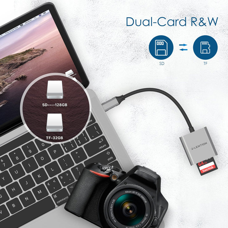 LENTION USB C to SD/Micro SD Card Reader, Type C SD 3.0 Card Adapter