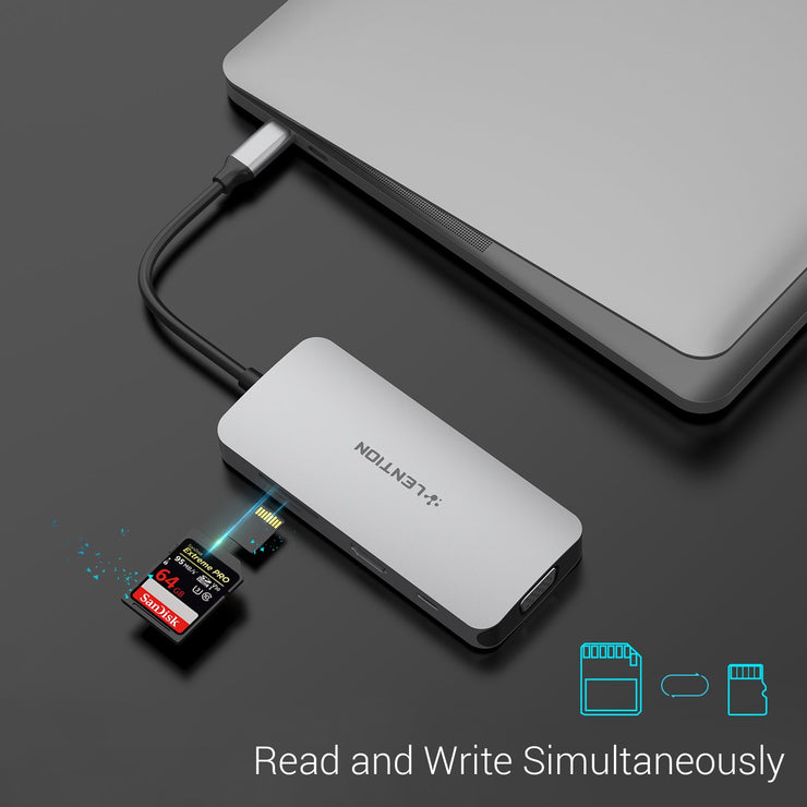 LENTION USB C Hub with 4K HDMI, VGA, SD/Micro SD Reader, USB 3.0 and More (CB-CE55)  (US/UK/CA Warehouse In Stock)