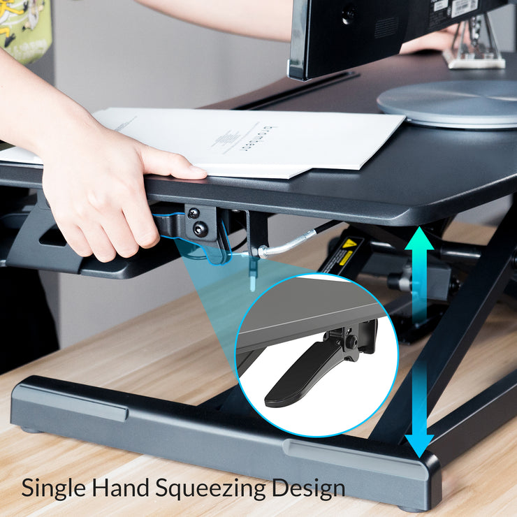 Height Adjustable Standing Desk Monitor Riser Gas Spring Tabletop Sit to  Stand Workstation - Lention.com - Lention.com