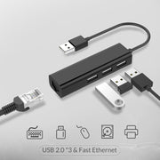 LENTION USB-A to 3 USB 2.0 Ports Hub with RJ45 LAN Adapter-Lention.com-Lention.com