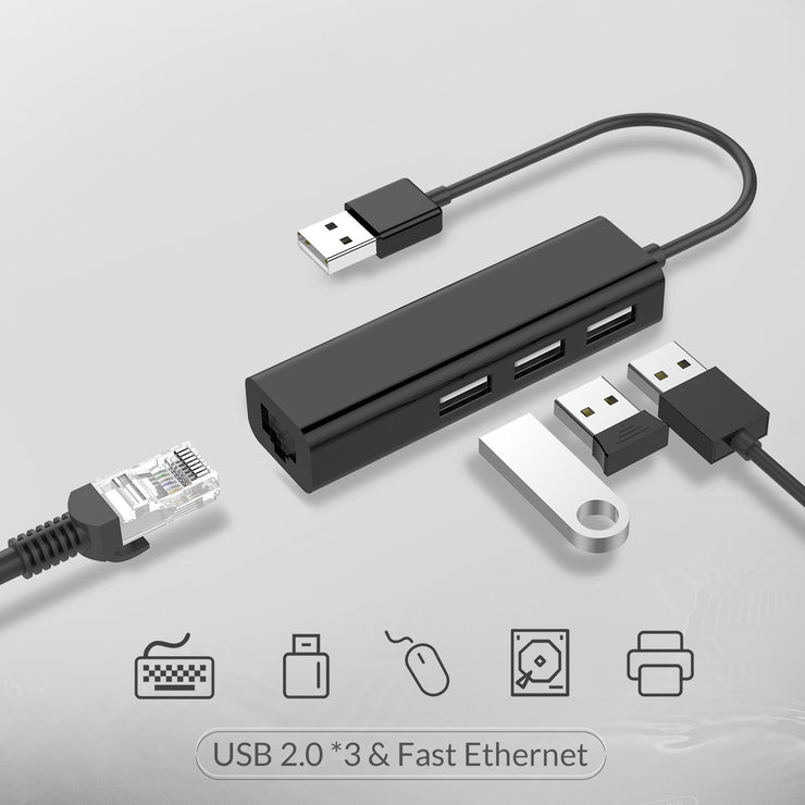 LENTION 3 USB Ports Hub with RJ45 LAN Adapter USB 2.0 Type A (US Warehouse in Stock)