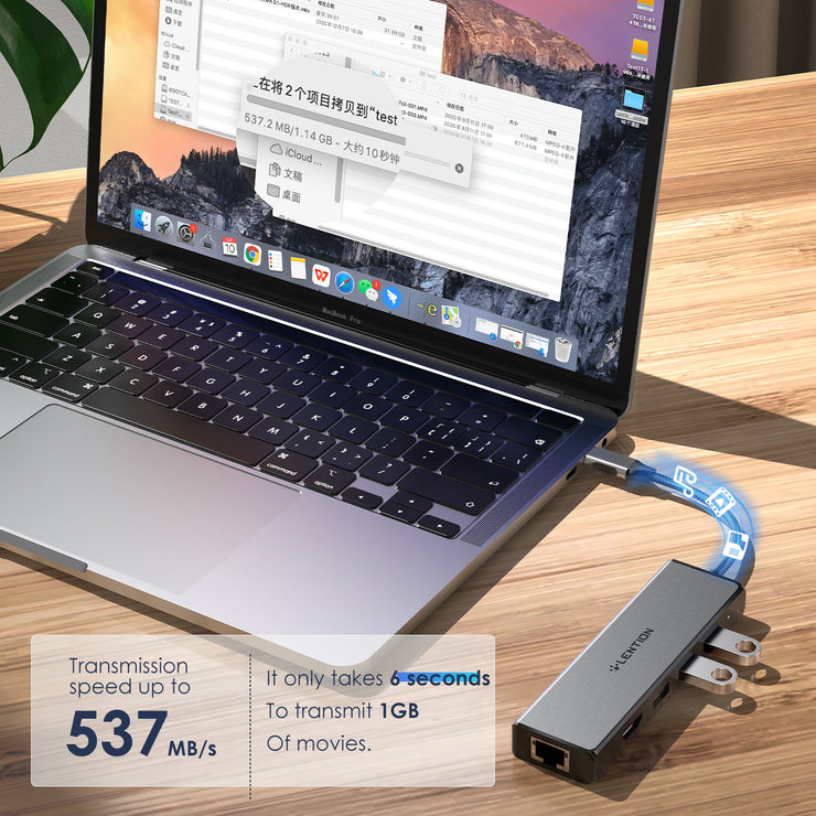LENTION USB-C to 3 USB 3.0 Hub with 4K HDMI and Gigabit Ethernet LAN Adapter (CB-C25)
