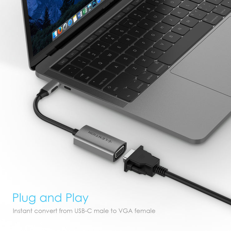LENTION USB-C to VGA Adapter, Type C to VGA Cable Converter (CB-CU606)