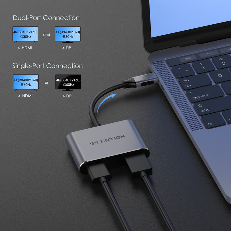 LENTION USB-C to HDMI & DisplayPort, Support MST Mode and SST Mode: Dell XPS12(9250) / Dell XPS13(9350) / Dell XPS15(9550), Dell Latitude 13 7000 / E7370| Lention.com