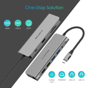 9 in 1 USB C Hub - 4K HDMI, SD 3.0 Card Reader, Gigabit Ethernet, Charging, USB 3.0&2.0, Aux Adapter | Lention.com