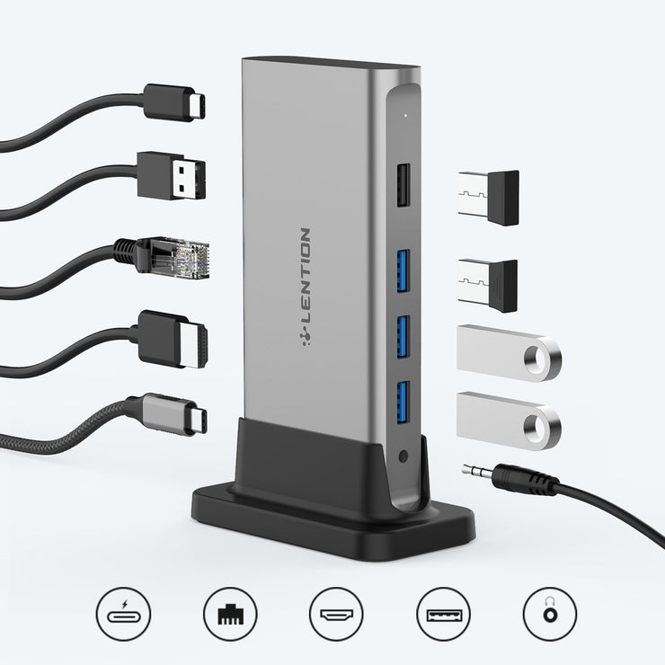 CB-D53 USB-C Docking Station with Long Cable-Through + Power  Delivery 100W - Docking Station | Lention.com
