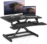 "LENTION Gas Spring Height Adjustable 30"" Standing Desk for Home & Office, Ergonomic Sit to Stand Workstation with 30'' Compact Table-Top, Standup Computer Riser Converter fit 1 Laptop + 1 Monitor(VM-GSD33)(US Warehouse in Stock)"