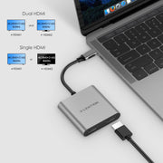 LENTION USB C to Dual HDMI Adapter, Supports Single 4K@60Hz and Dual 4K@30Hz