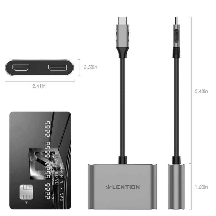 LENTION USB-C to HDMI & DisplayPort, Supports Dual 4K/30Hz Output(CB-C52s)