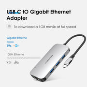 USB C Hub with 4K HDMI, Gigabit Ethernet, Card Reader, USB 3.0, Type C Data and Charging Adapter,Space gray(CB-CE57se)|Lention.com