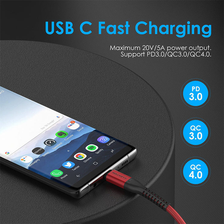 CB-CCT, USB Cable, USB C to USB C Cable 3.3ft 100W, 3.3ft -10ft | Lention