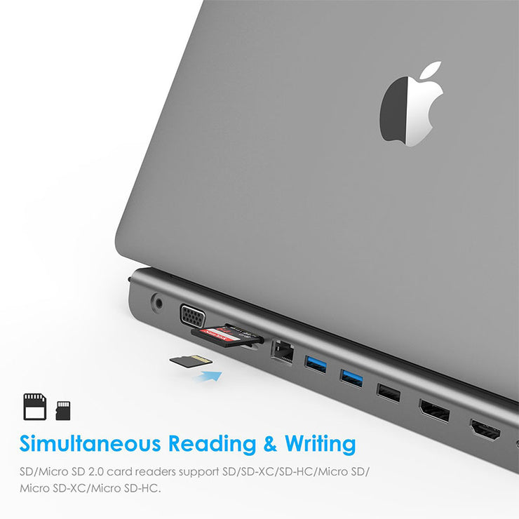 USB C Docking Station with 1000M Ethernet or Card Reader, Docking station gray ...