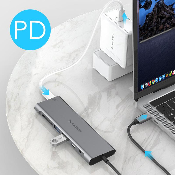 LENTION 7 in 1 3.3ft Long Cable USB C Hub | US/UK/CA Warehouse in Stock