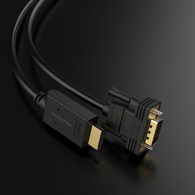 LENTION Active HDMI to VGA Video Cable Adapter, 1080P HDMI Digital AV to VGA Analog Converter Cable