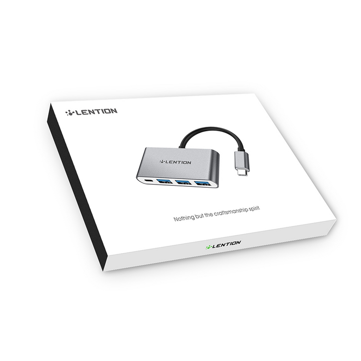 LENTION 4-in-1 USB-C Hub With USB C Power Delivery, 3 USB 3.0 Ports