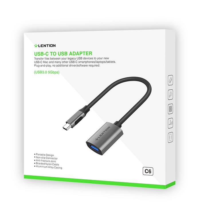 LENTION USB C to USB 3.0 Adapter [2-Pack], Type C Male to USB 3.0 Female OTG Converter (US Warehouse in Stock)
