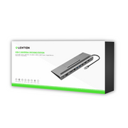 LENTION USB C Docking Station with 4K HDMI & DisplayPort, 1080P VGA, 100W PD, 1000M Ethernet, Card Reader, 3.5mm Aux Adapter, USB 3.0/2.0 (UK Warehouse in Stock)(US Warehouse Oct.23 back in Stock)