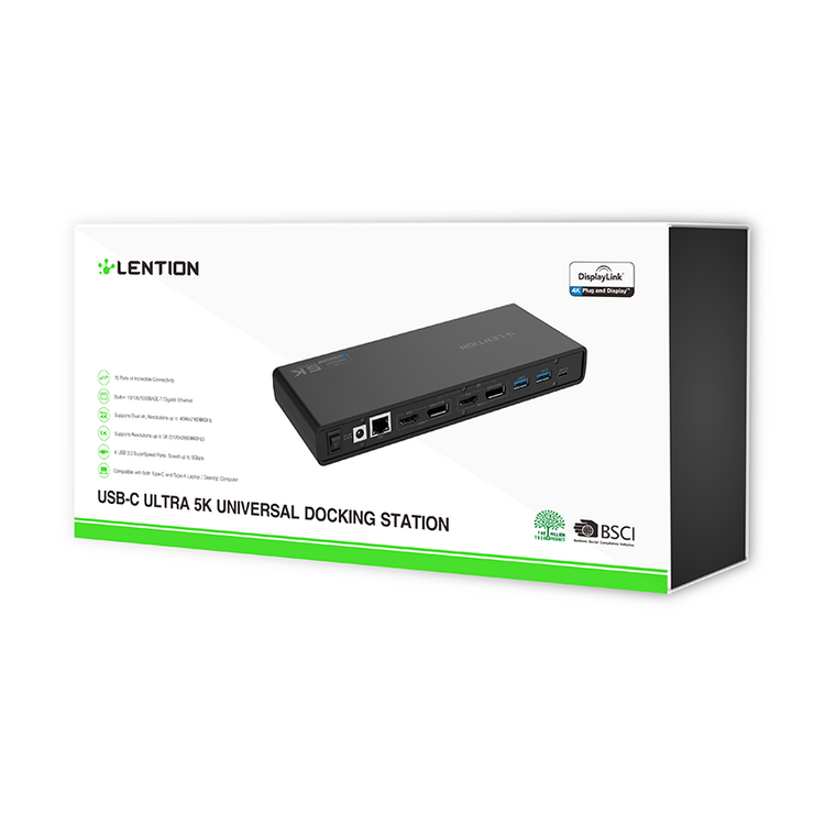 LENTION 5K USB C & USB A Docking Station with HDMI, DisplayPort Dual 4K Displays, Gigabit Ethernet, Audio Adapter, 6 USB 3.0