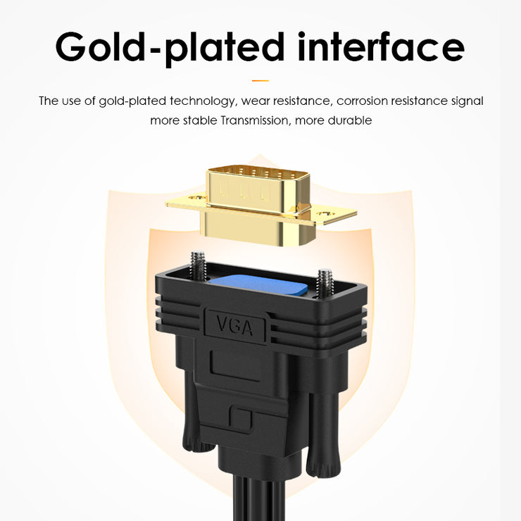 LENTION Gold Plated VGA to USB-A, HDMI, 3.5mm Cable Adapter 6.6ft(VC-VpaH-P1-2M)