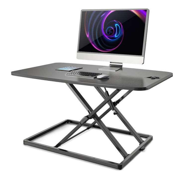 "Lention Black Height Adjustable Standing Desk Monitor Riser | 31""  Tabletop Sit Stand Workstation (VM-LD03) - Lention.com - Lention.com"