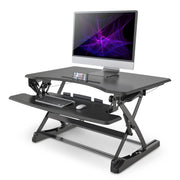 "LENTION 35"" Gas Spring Adjustable Desk Riser for Home & Office with 35'' Wide Table-Top, Laptop Riser Converter fit Dual Monitors (US Warehouse in Stock)"