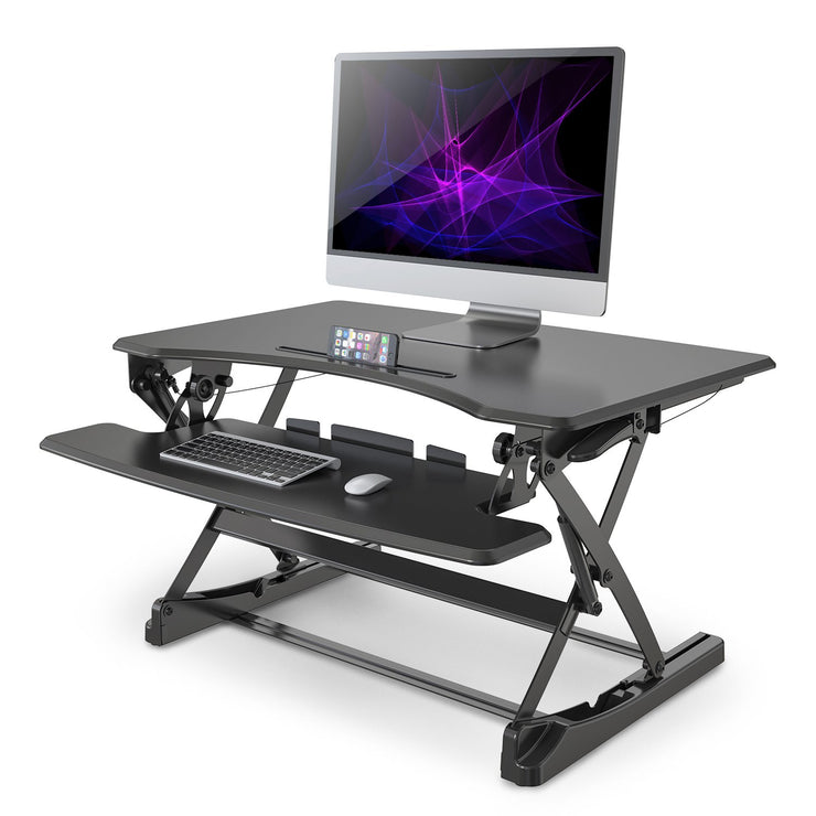 "LENTION 35"" Gas Spring Adjustable Desk Riser Black - Office"