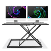 "Lention.com : Height Adjustable Standing Desk Sit to Stand Gas Spring  Riser Converter | 31"" Tabletop Workstation fits Dual Monitor (VM-LD03) :  Office Products"