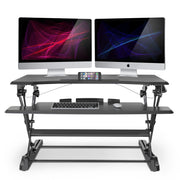 "LENTION 35"" Gas Spring Adjustable Desk Riser for Home & Office with 35'' Wide Table-Top, Laptop Riser Converter fit Dual Monitors (VM-SD10) (US Warehouse in Stock)"