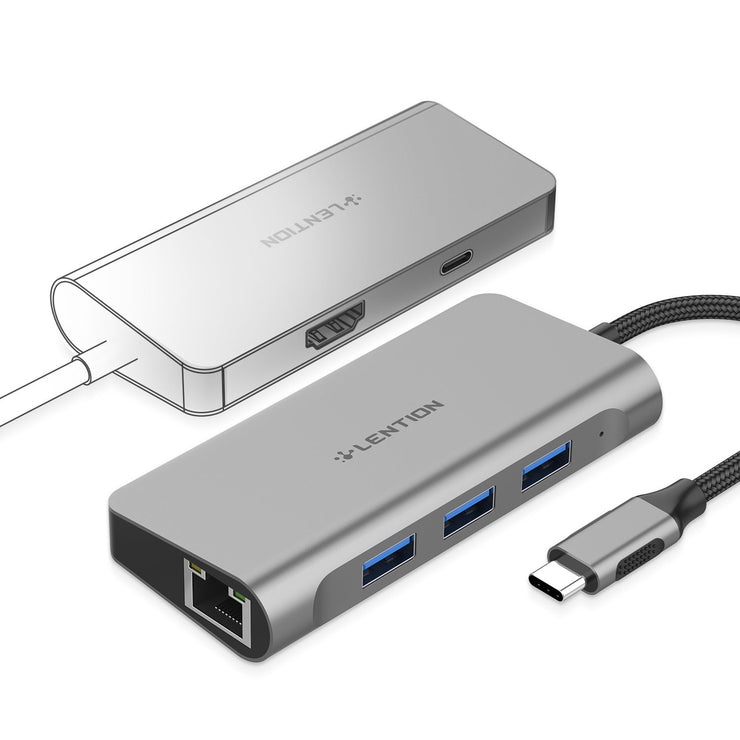 LENTION USB-C Digital AV Multiport Hub with 4K HDMI, Gigabit Ethernet, USB 3.0, Charging Adapter