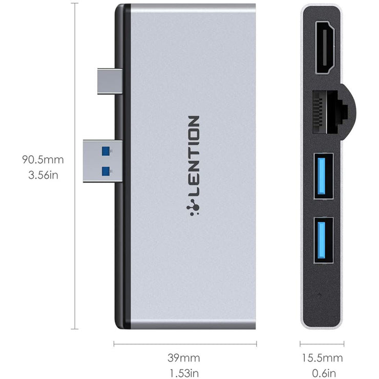 LENTION USB C Hub for Surface Pro 4/5/6 ONLY, with 4K HDMI, SD Card Reader, USB 3.0 and Gigabit Ethernet Adapter (CS32)