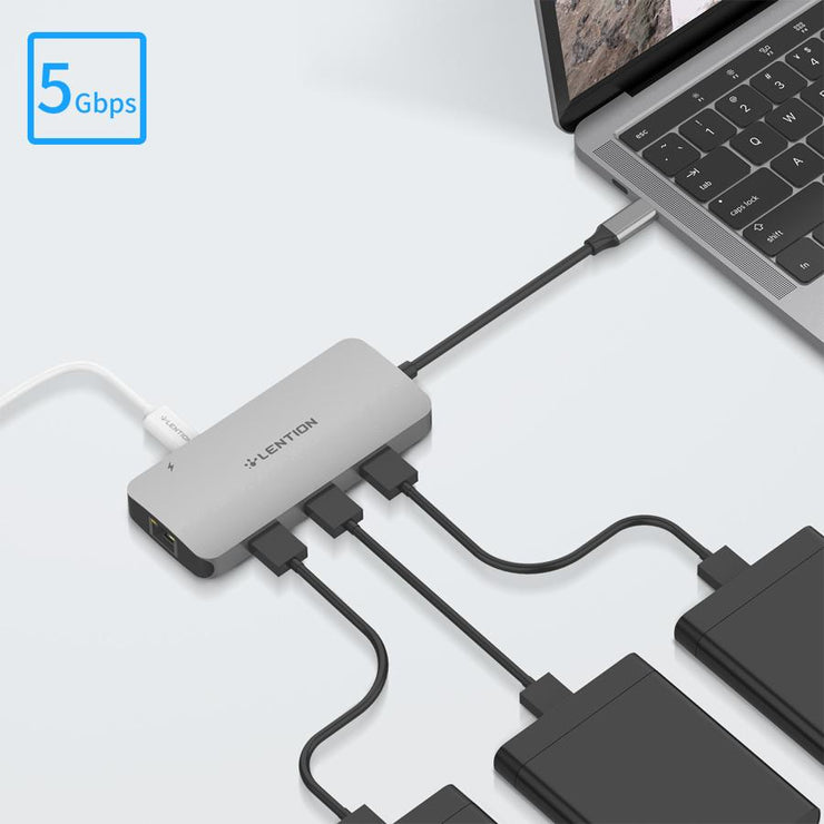 Lention.com — CB-CE57se — USB C Hub with 4K HDMI, Gigabit Ethernet, Card Reader, USB 3.0, Type C Data and Charging Adapter