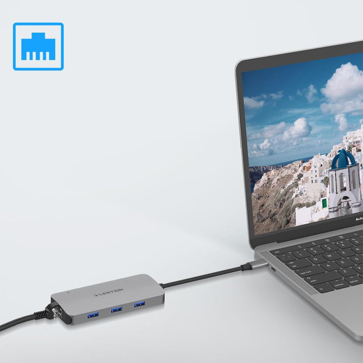 $39.99 - LENTION USB C Hub with 4K HDMI, Gigabit Ethernet, Card Reader, USB 3.0, Type C Data and Charging Adapter (CB-CE57se) ( CA Warehouse In Stock)