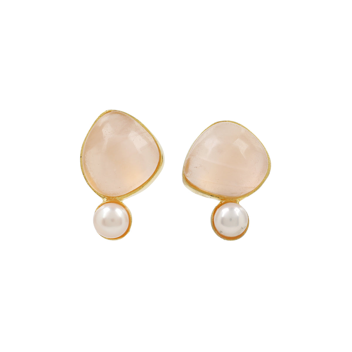 Gaea Pearl Studs - Gold - Rose Quartz
