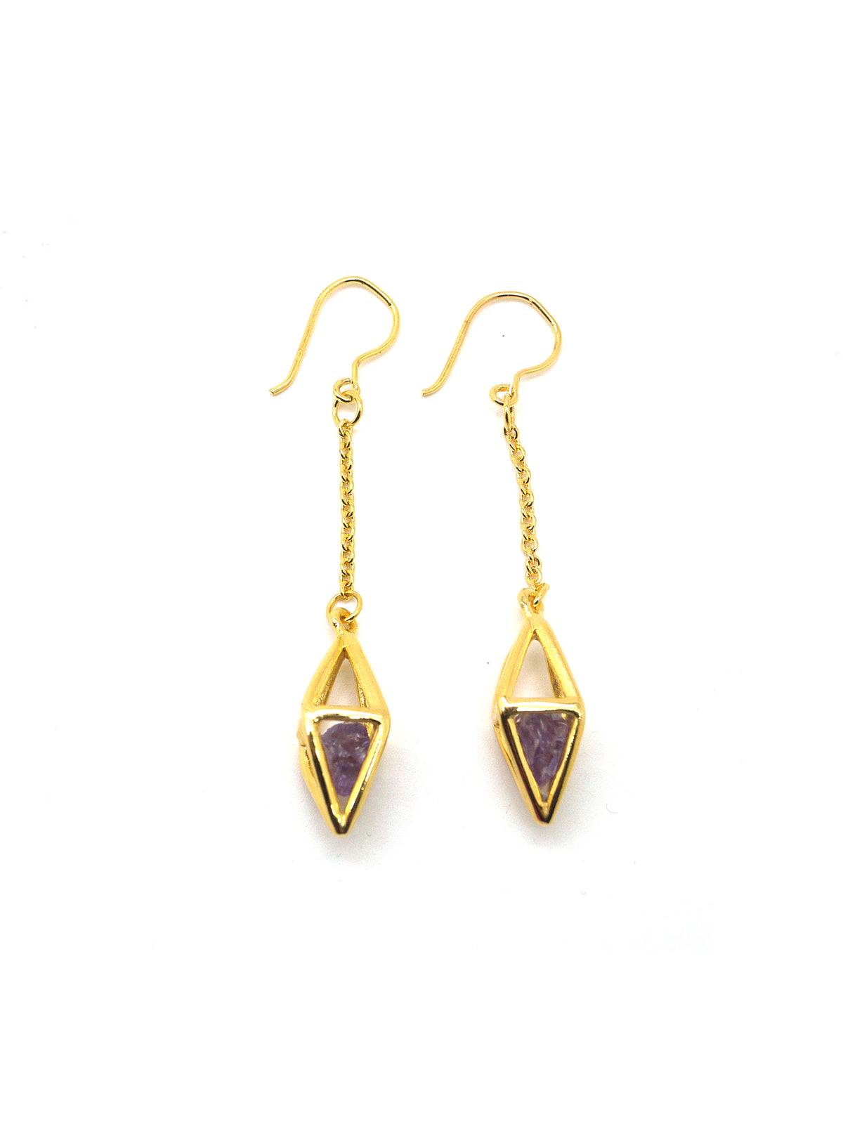 Diamond Stone Earrings - Gold - Amethyst