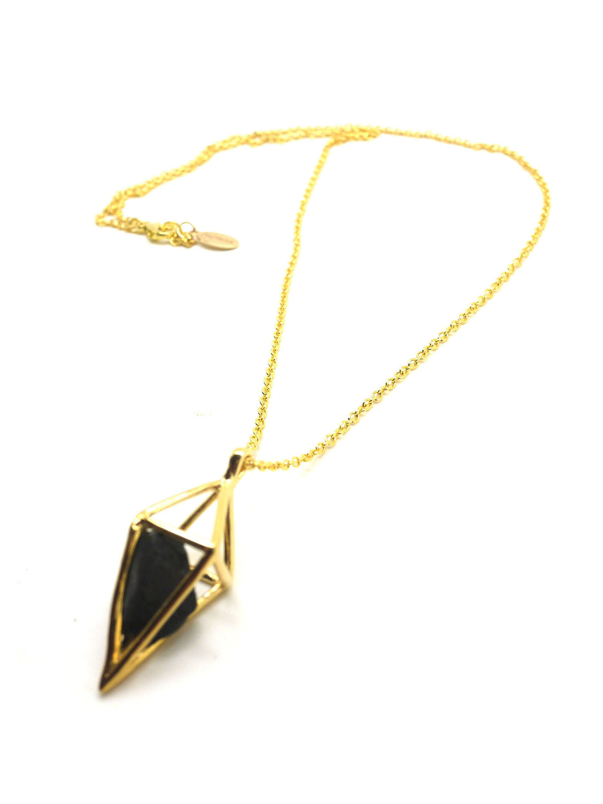 Diamond Stone Necklace - Gold - Onyx