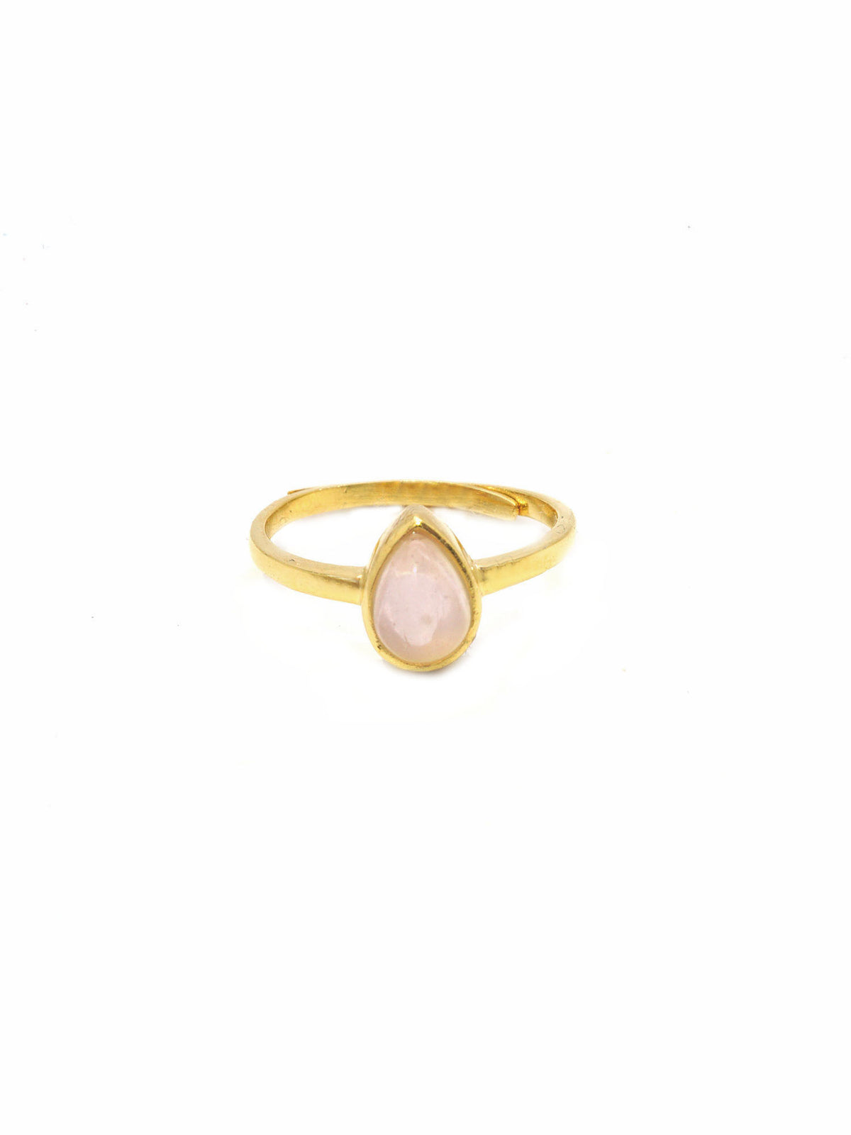 Dew Drop Ring - Gold - Rose Quartz