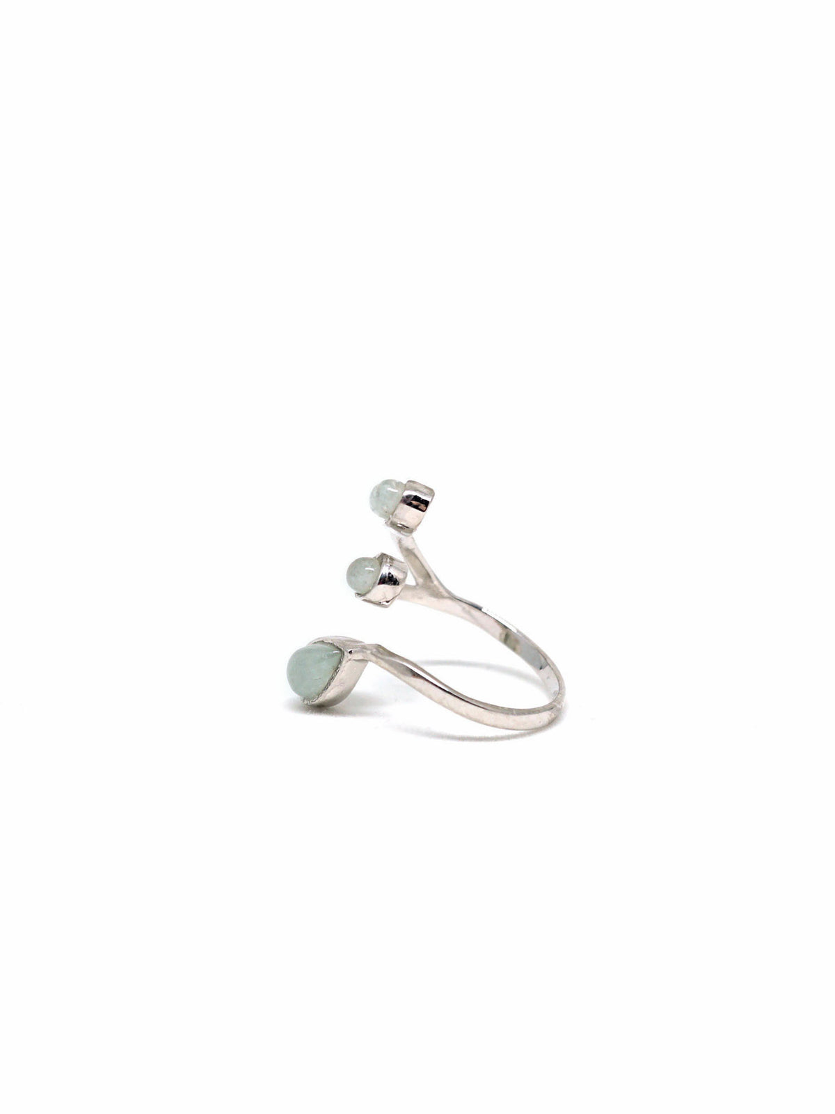 Dew Trio Ring - Rhodium - Aquamarine