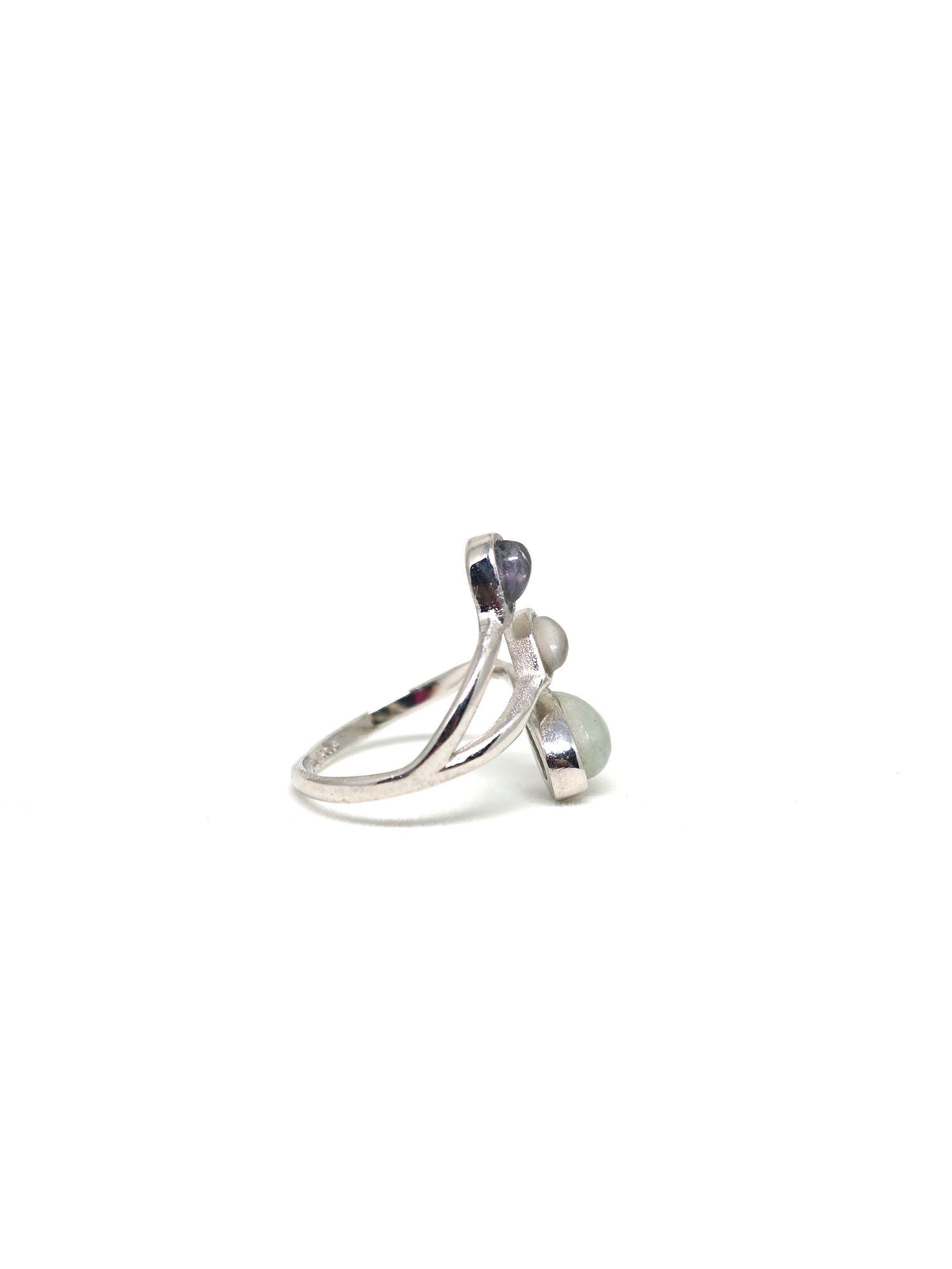 Dew Trio Ring - Rhodium - Iolite