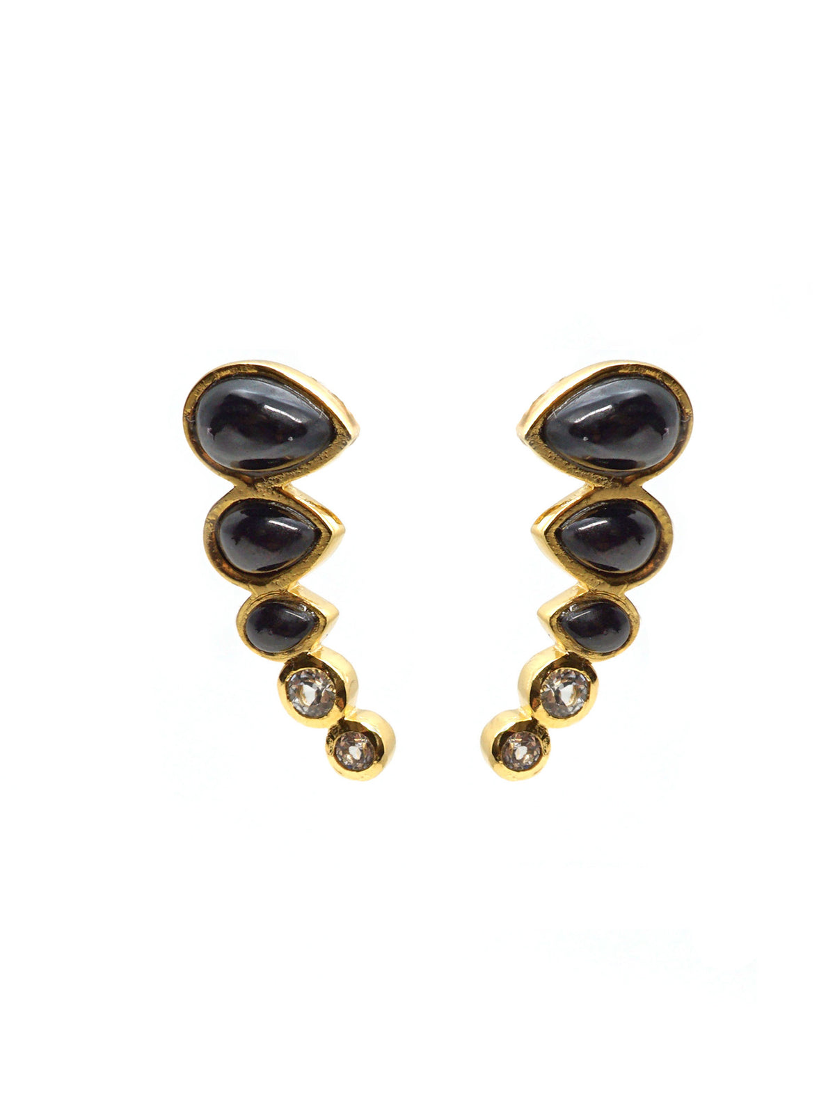 Dew Trio Earrings - Gold - Onyx