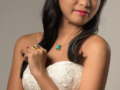 Pharaoh Long Necklace - Turquoise