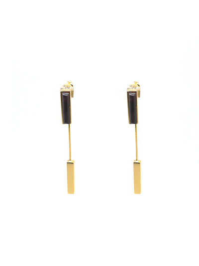 Linear Earrings - Gold - Garnet