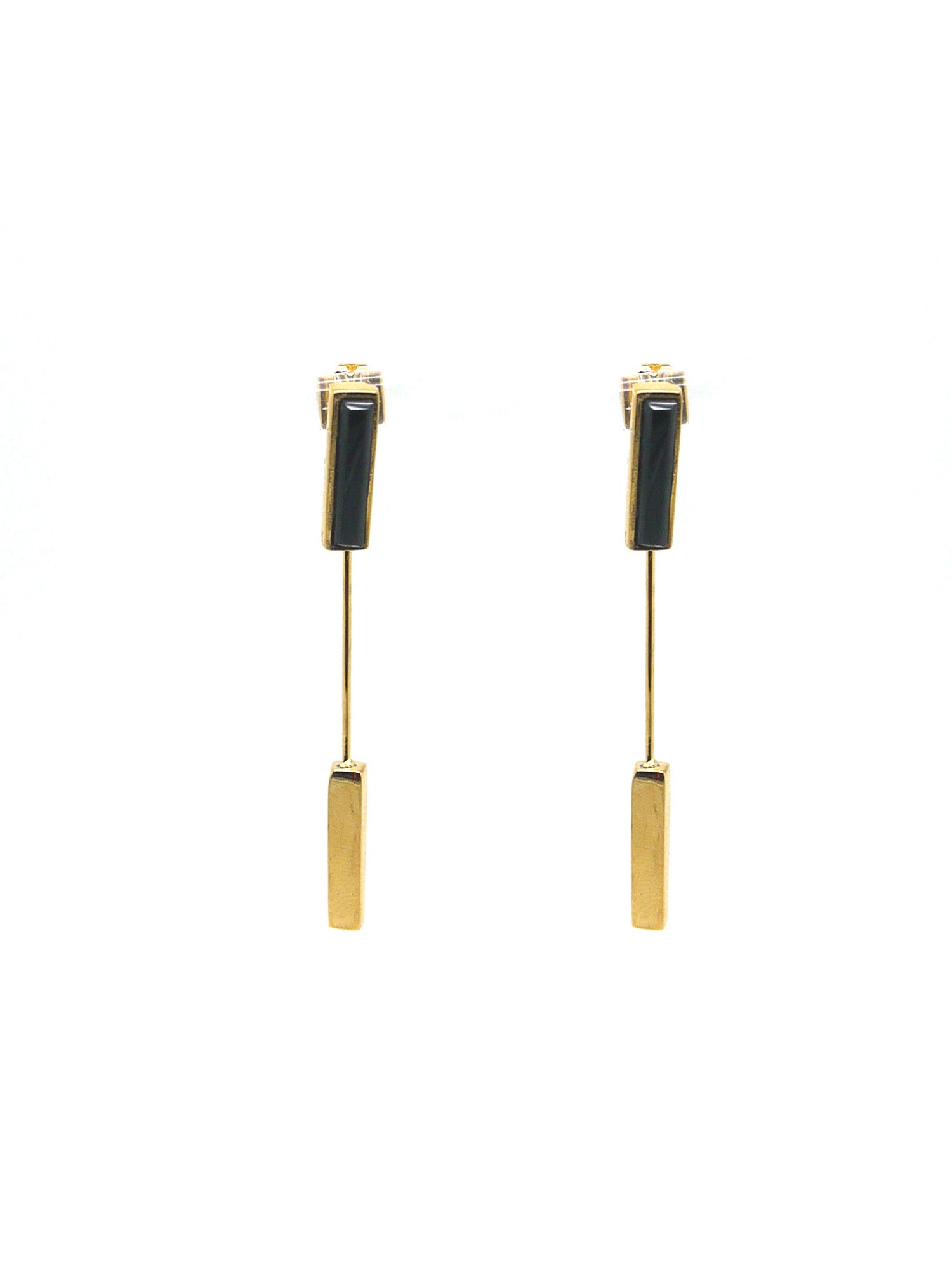 Linear Earrings - Gold - Onyx