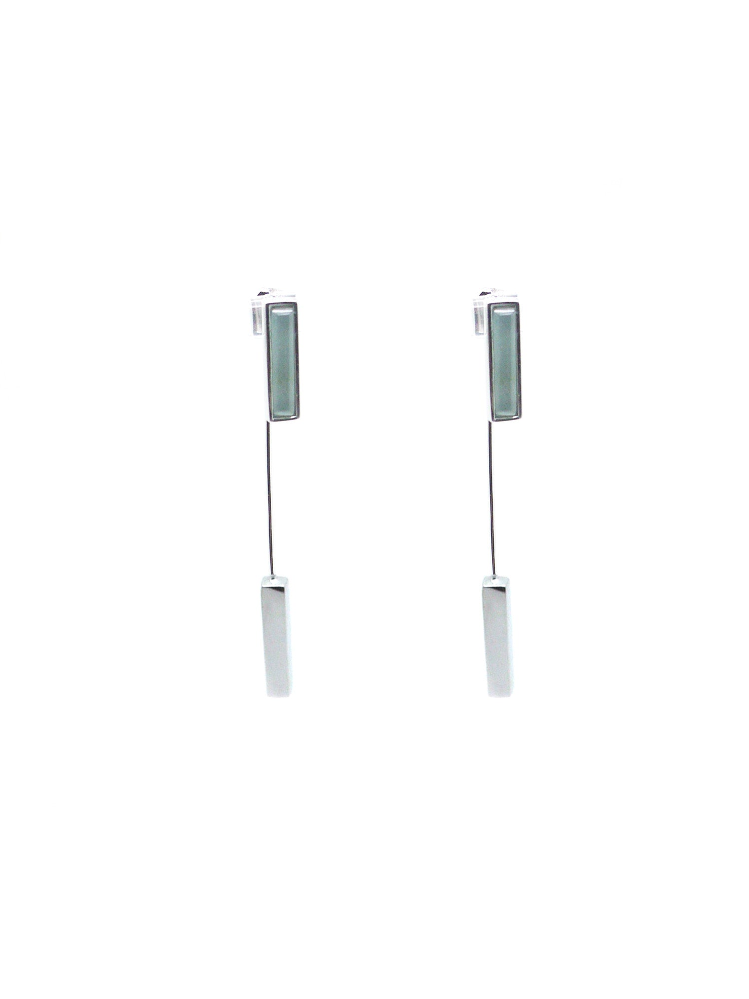 Linear Earrings - Rhodium - Aquamarine