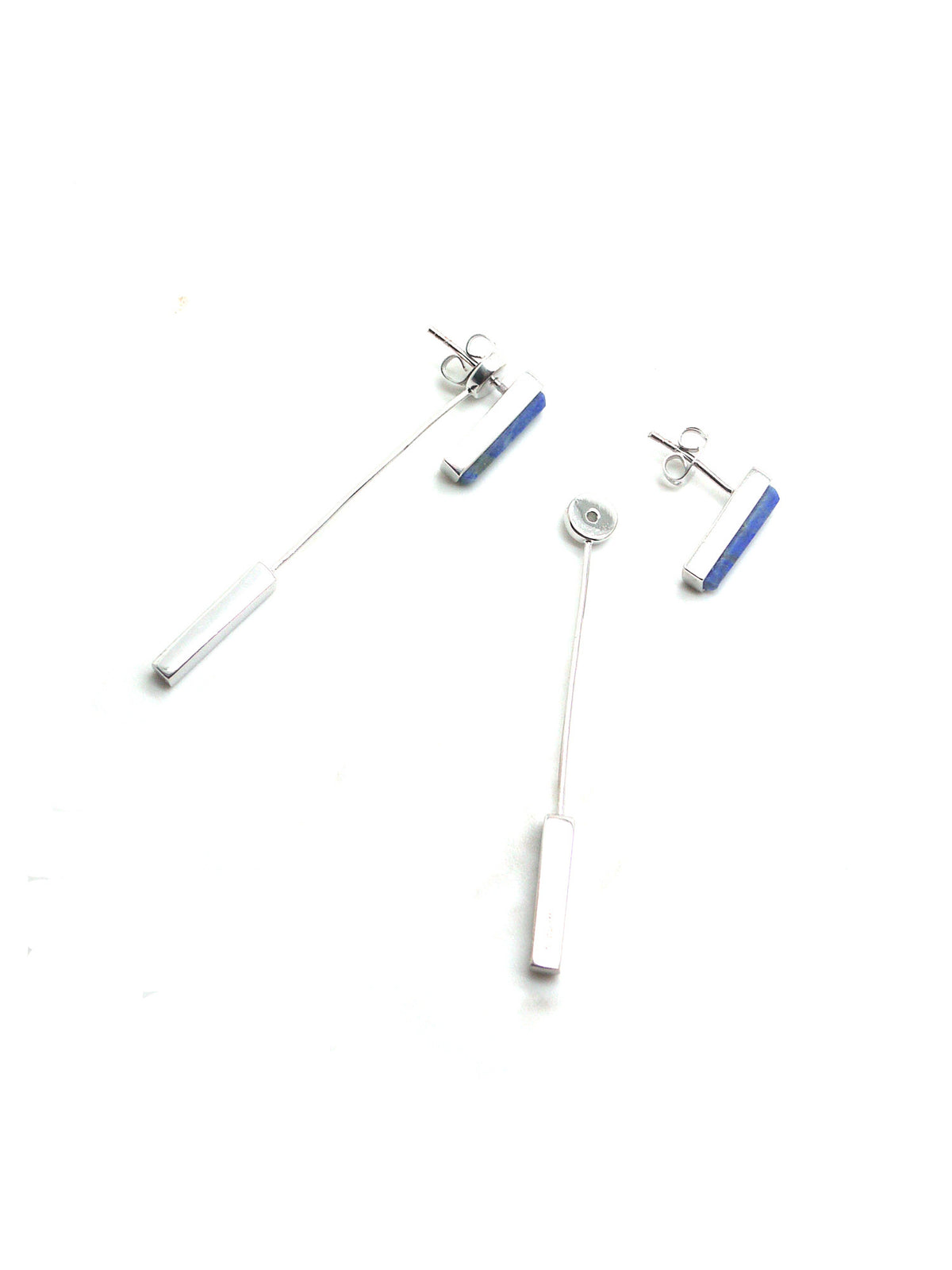 Linear Earrings - Rhodium - Lapis Lazuli