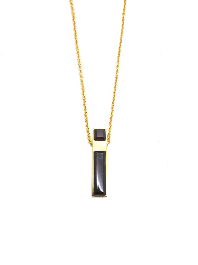 Linear Necklace - Gold - Garnet